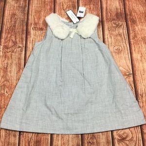 Gap Girls 12-18M 18-24M Gray Faux Fur Dress